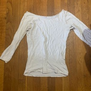 American Apparel White Top 3/4 sleeve size S